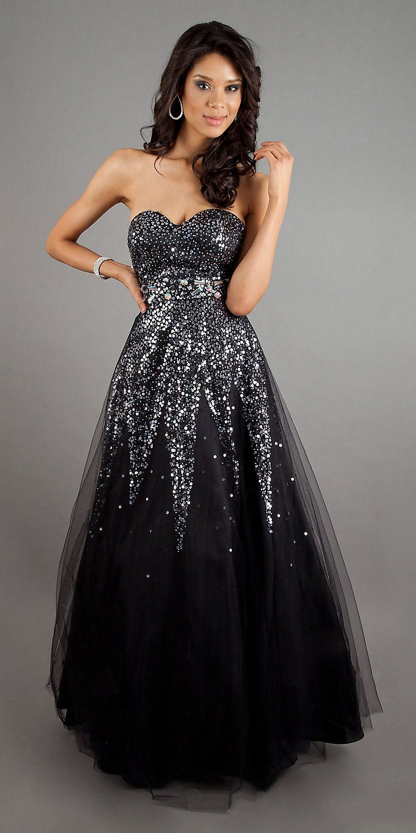 Strapless sequin black ball gown a line long sweetheart princess