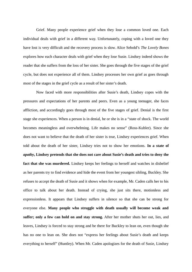 compare and contrast essay on the lovely bones