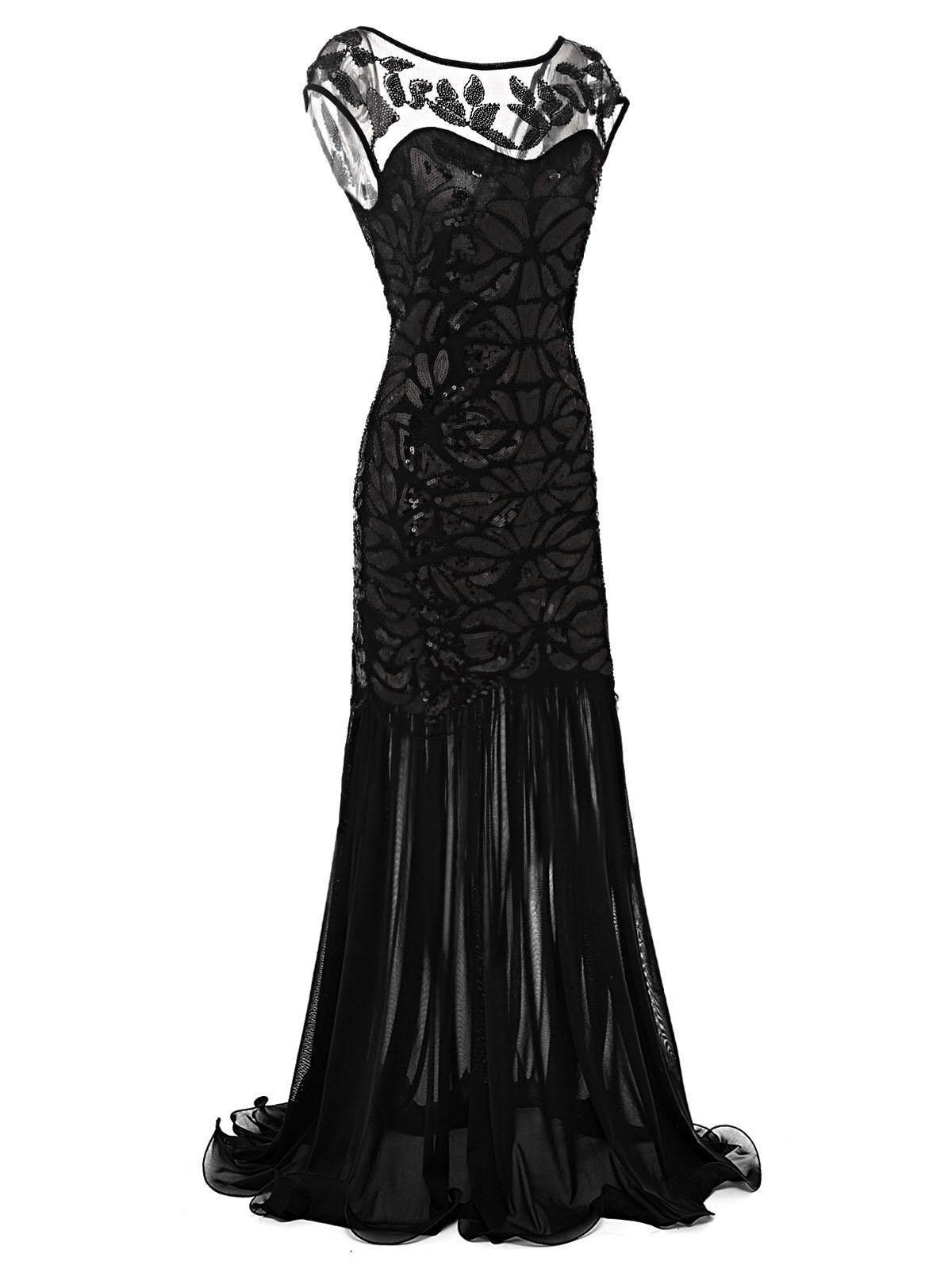 Black s sequin maxi flapper dress gatsby pinterest dresses