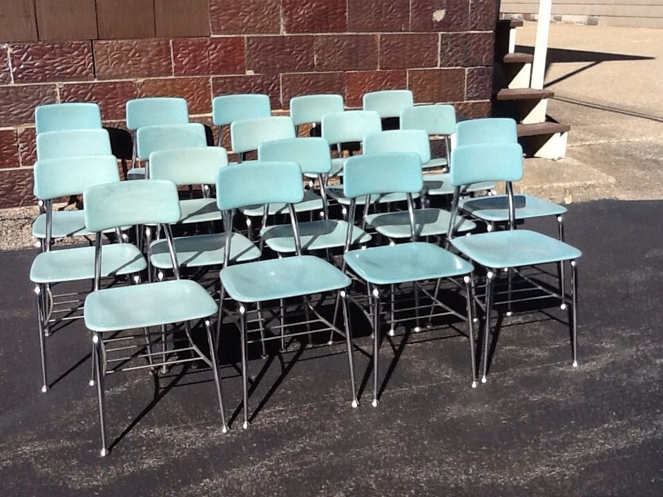19 Heywood Wakefield Mid Century Turquoise Adult Chairs W/ Storage   Very  Good In Antiques