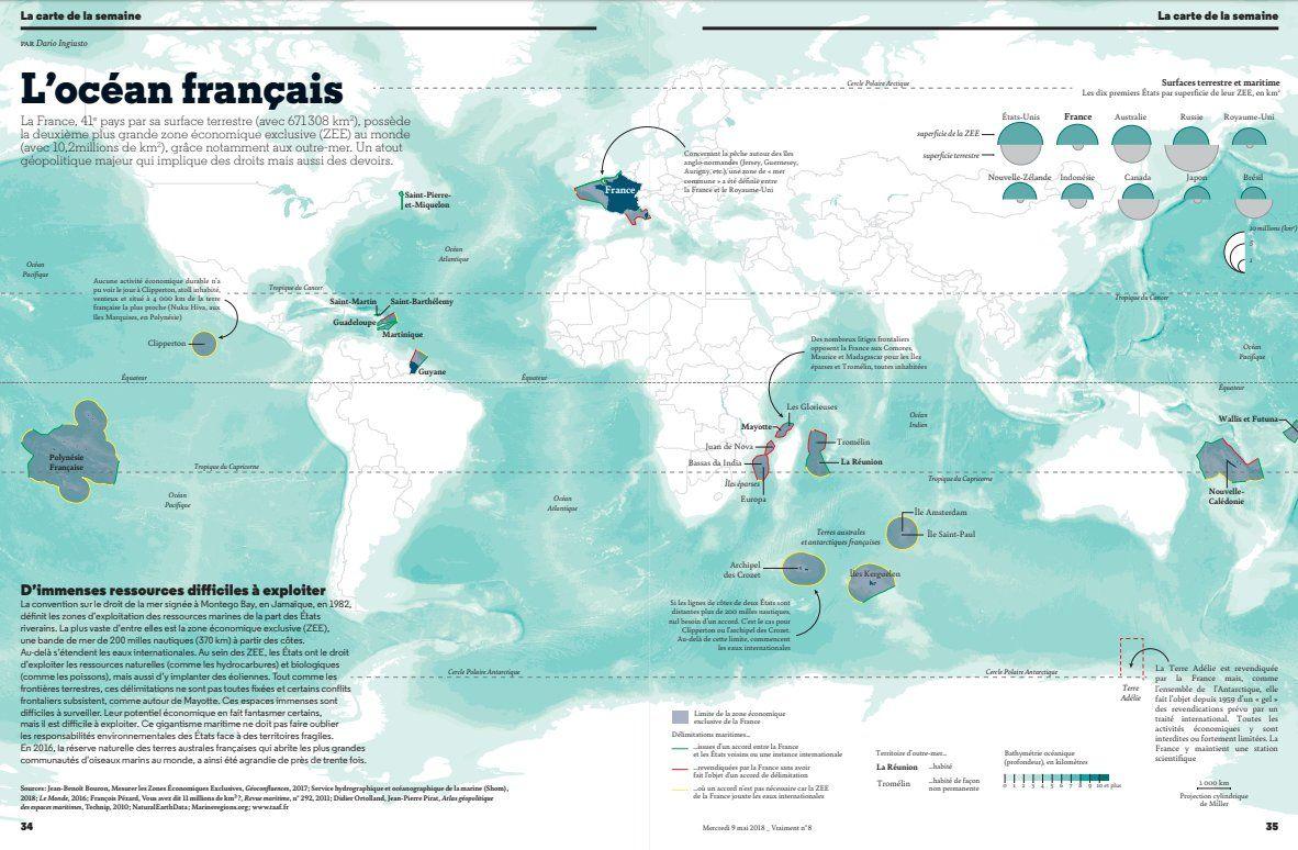 Carte empire maritime français ZEE Zone Economique