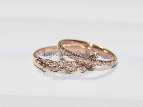 Two wedding set matching real diamond wedding by lynnlindesign