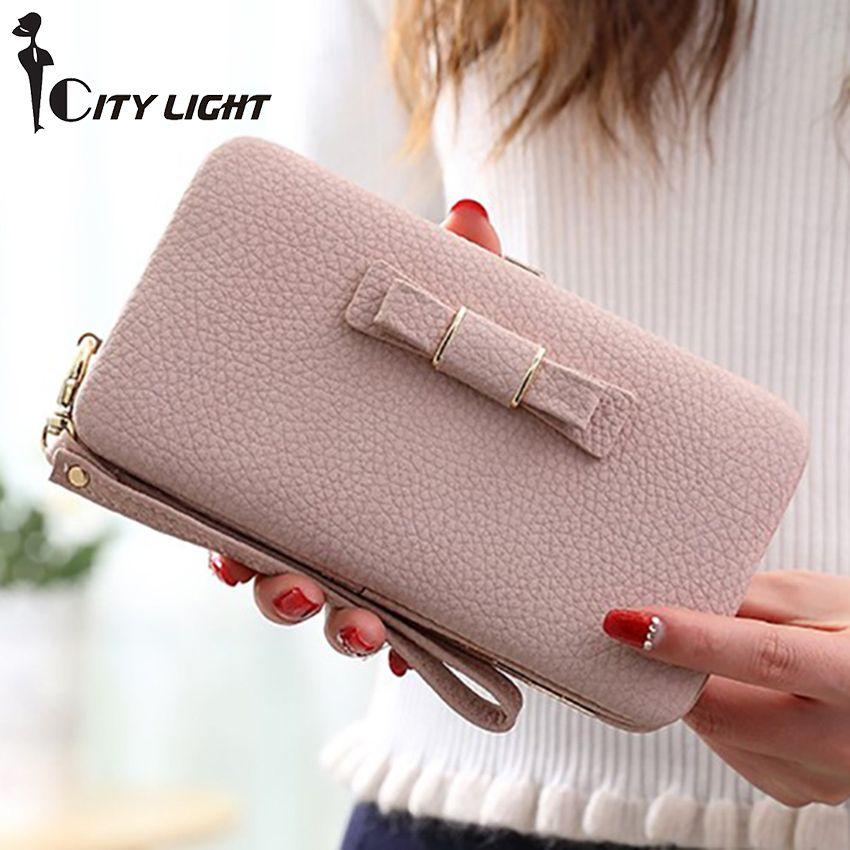 New arrival fashion wallets women long design cute Bowknot large capacity  lunch box ladies wallet purse clutch d70dc6aa32019