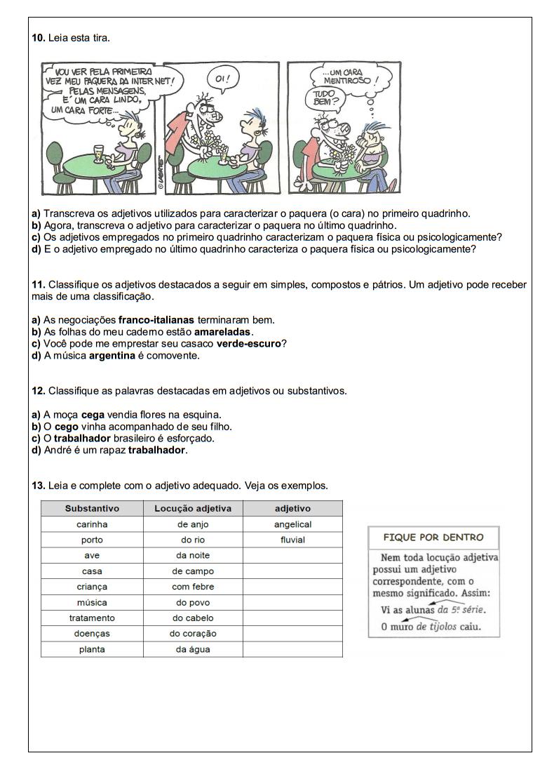 Atividades Portugu S 6 Ano Lingua Portuguesa Exerc Cios Avalia Es  -> Atividades Com Substantivos Simples E Composto 4 Ano