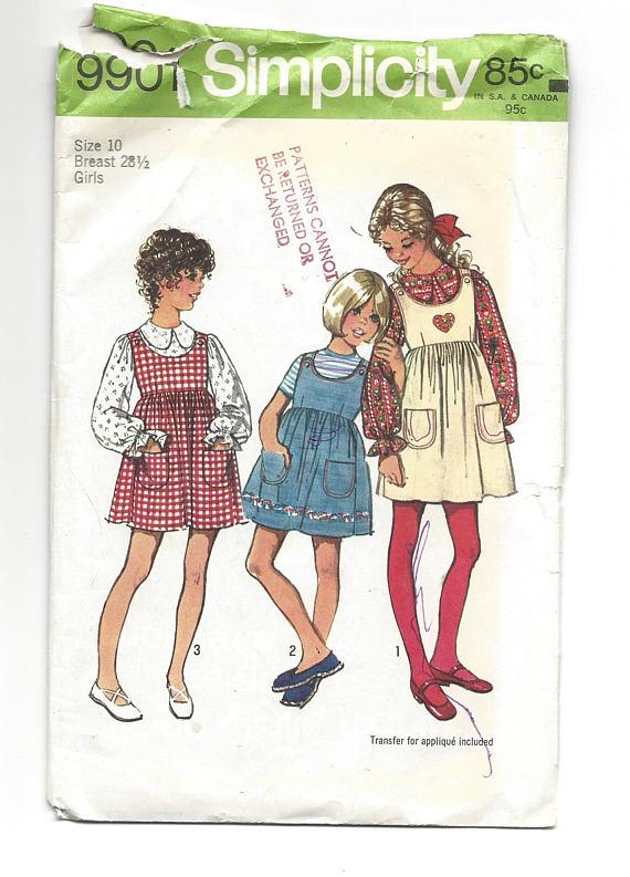 Patrón de la vendimia 1972 simplicidad 9901 chicas años 70 | juanita ...