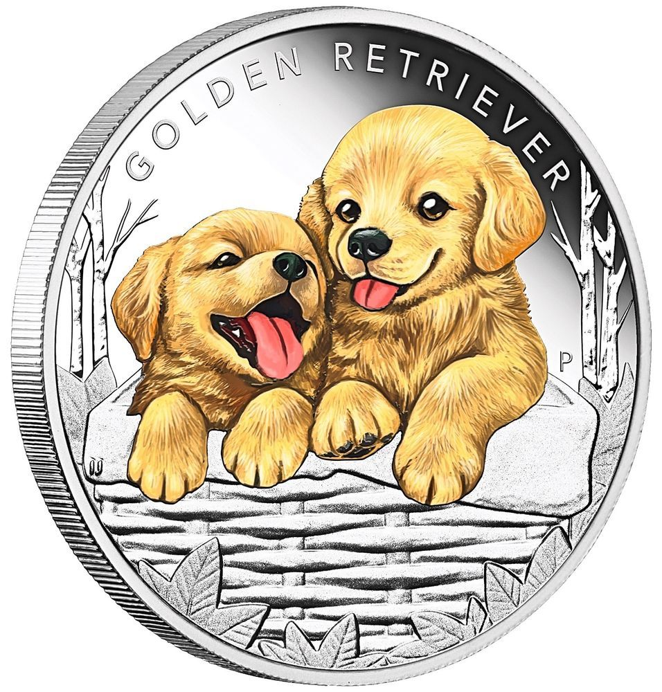 Puppies Golden Retriever 1 2oz Silver Proof Coin From The Perth