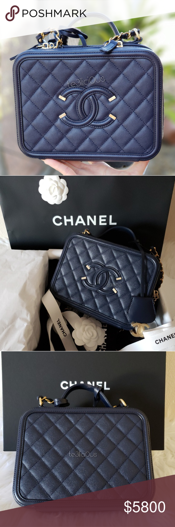 76474f9d4a82e2 Spotted while shopping on Poshmark: CHANEL VANITY CASE 18ss NAVY! #poshmark  #fashion