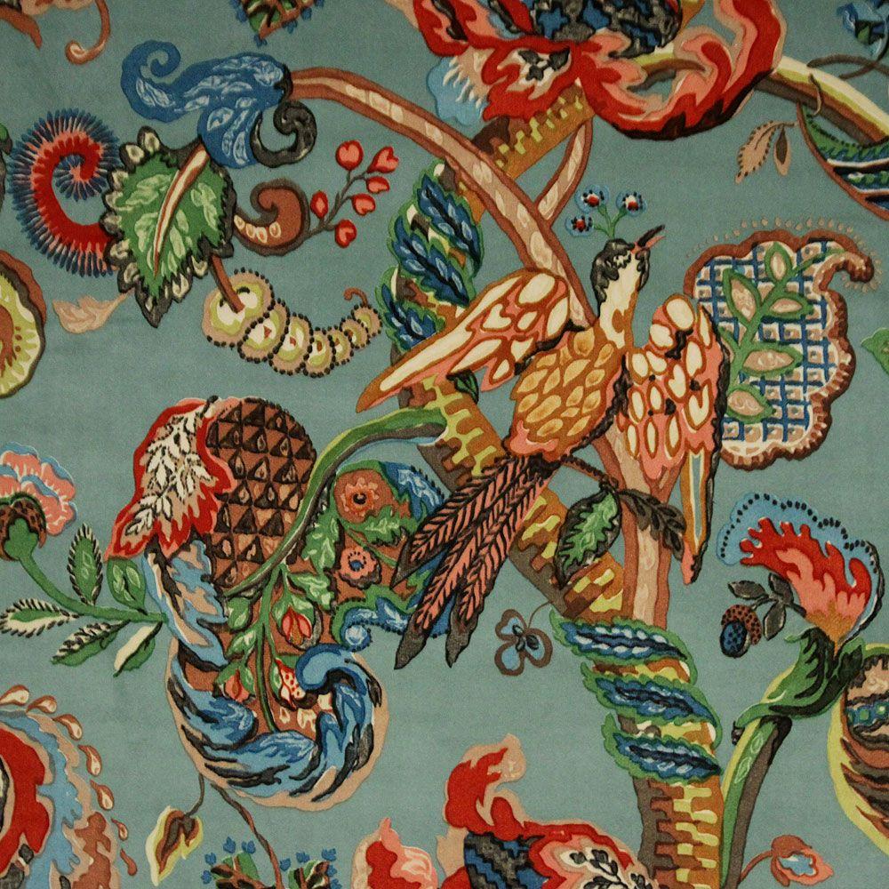 Poppinjay Velvet Aztec Prints Ian Sanderson Upholstery And