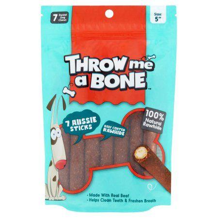 Throw Me a Bone 5 inch Beef Coated Rawhide Dental Dog Chews, 7 pack