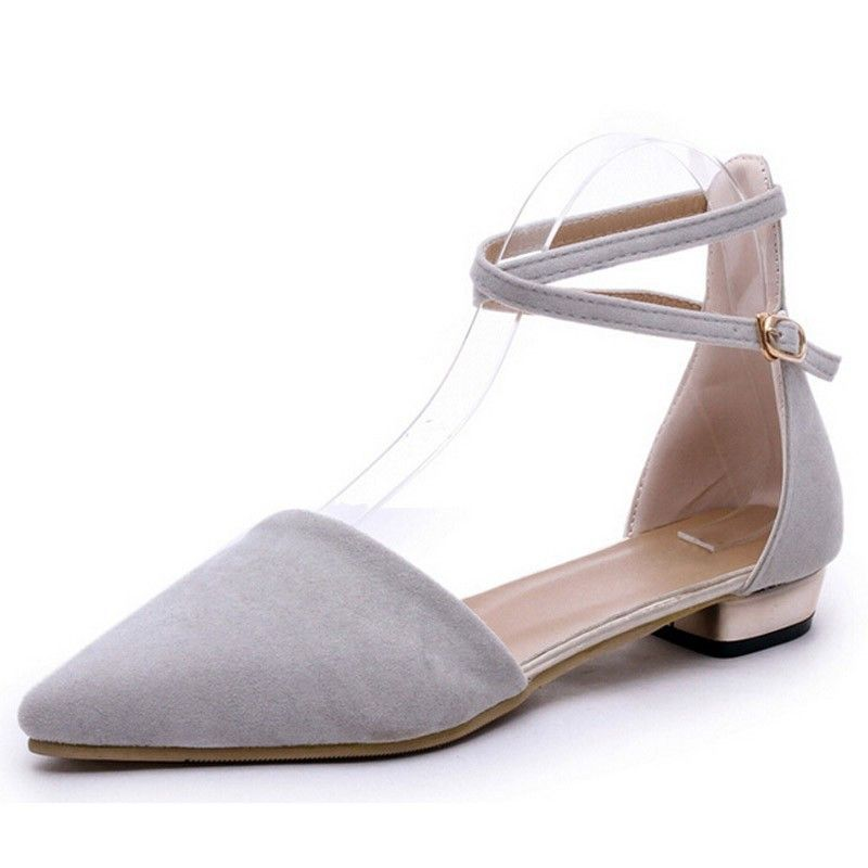 Gray Ankle Strap Flats