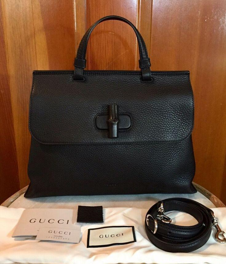 ab50326953cd17 New Gucci Black Bamboo Daily Top Handle Handbag Pebbled Leather 2 Way Tote  Bag - - #BambooBags