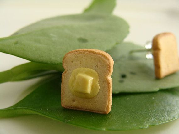 Buttered Toast Ear Studs Version 2  Miniature Food by TheMenu, $15.00