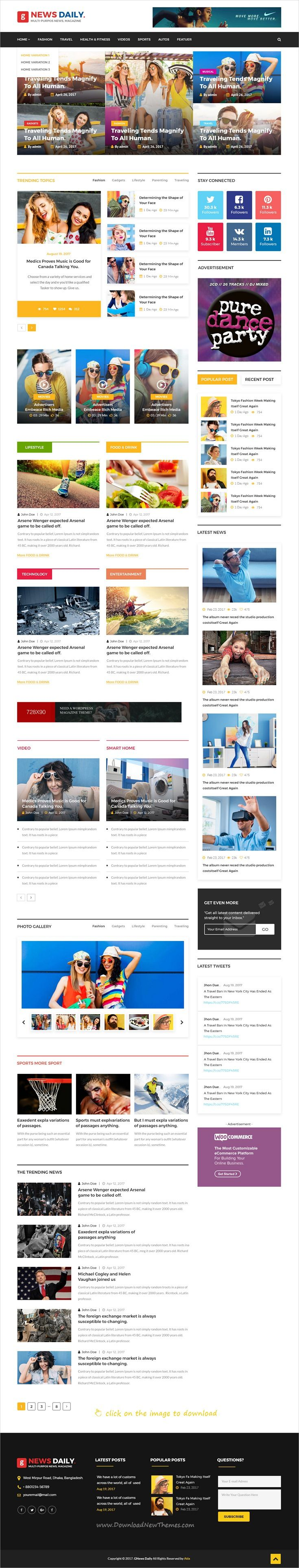 News Daily Is Clean And Modern Design Psd Template For Blog