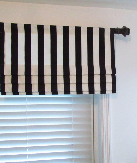 Faux Roman Shade Black White Striped Mock By Supplierofdreams