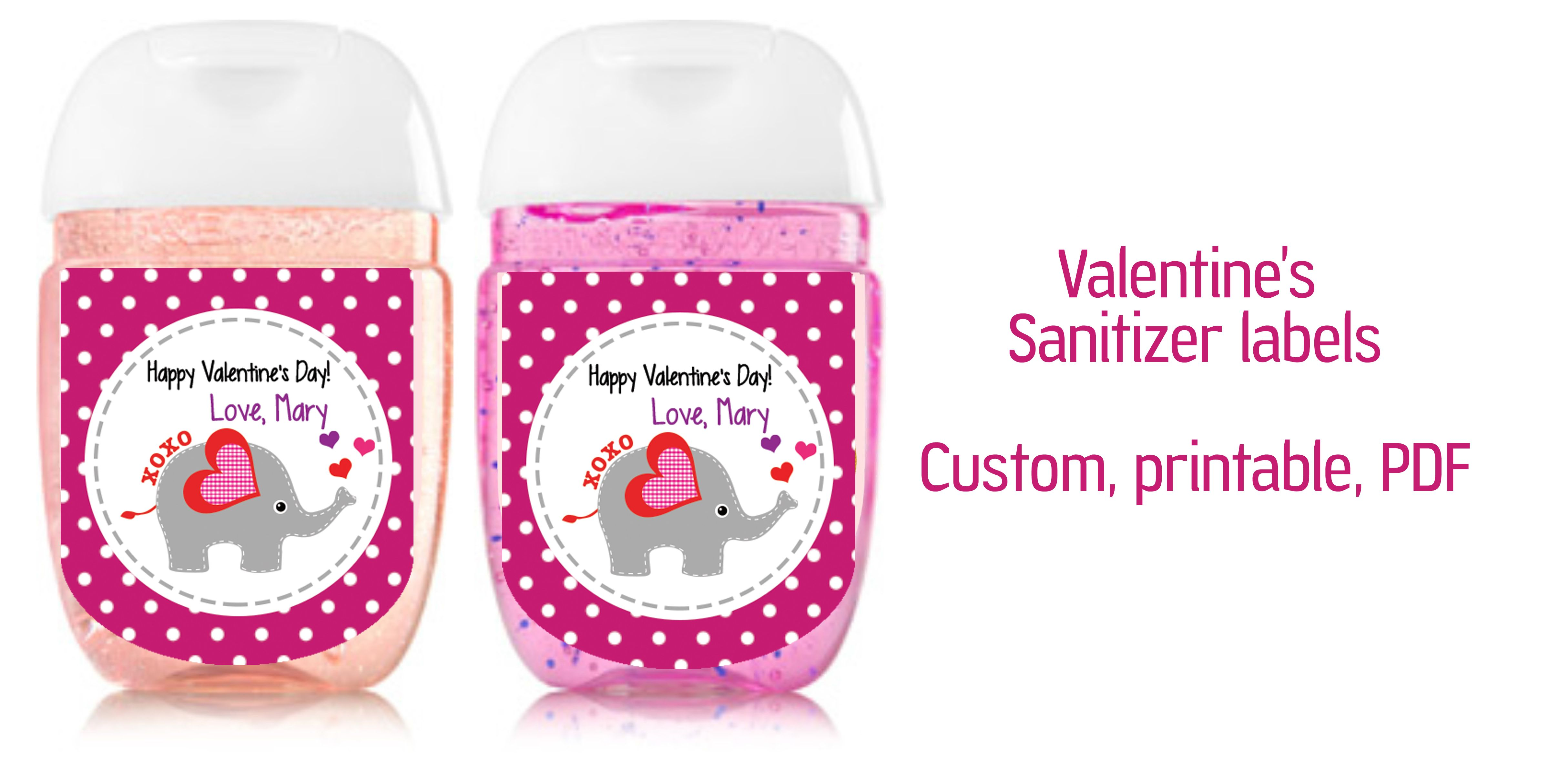 Valentine Xoxo Elephant Sanitizer Labels Sanitizer Label 1oz Pdf