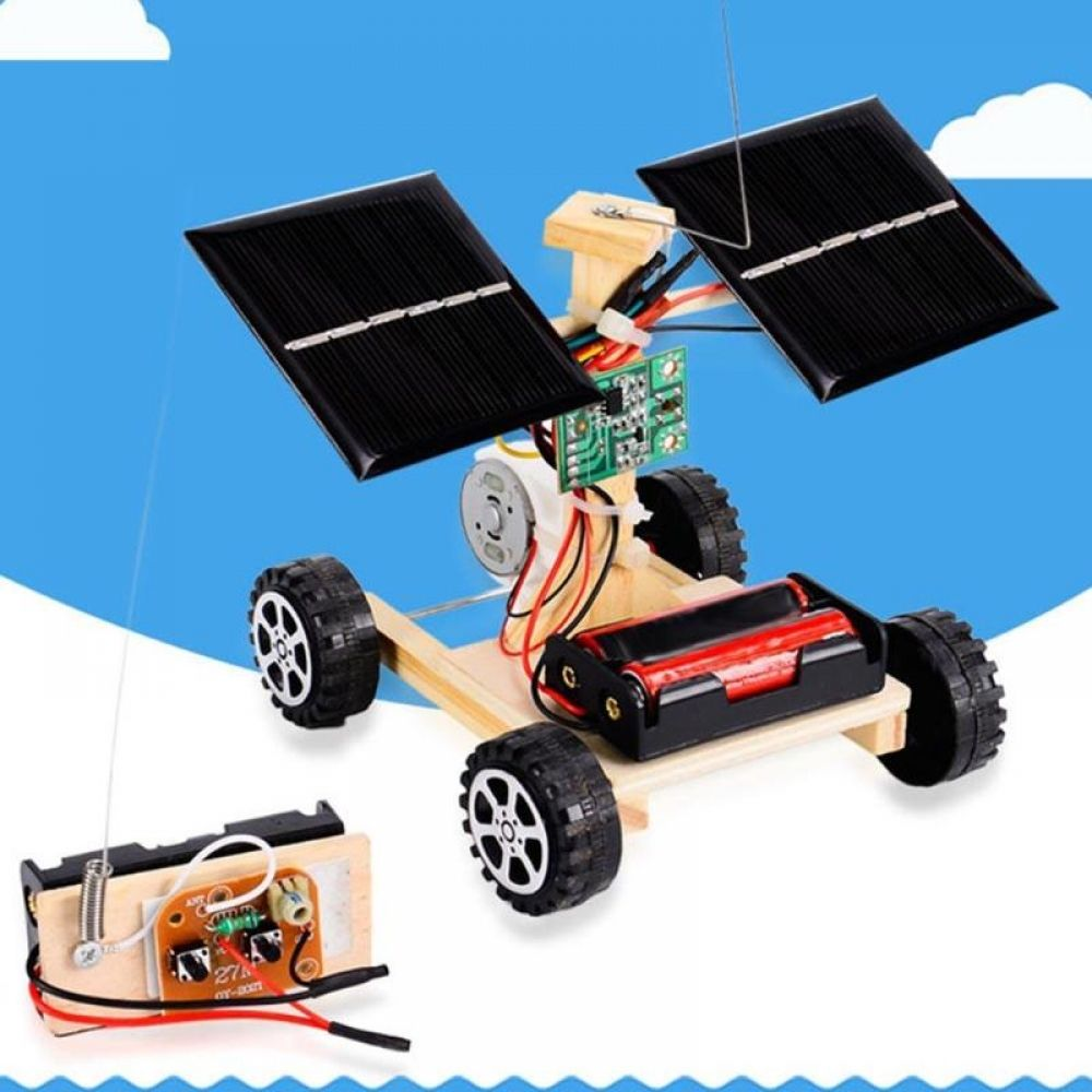 Assembly RC Toys DIY Mini Wooden Car Wireless Remote