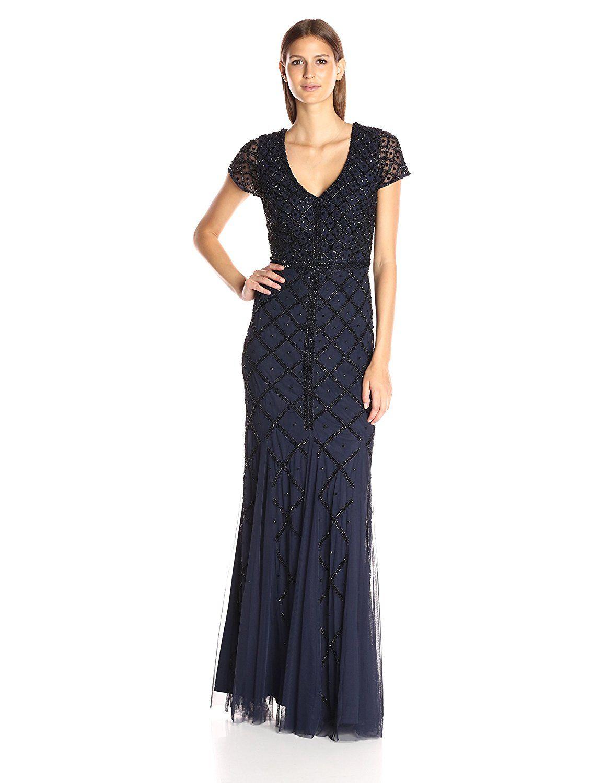 Adrianna Papell Womens Elbow Sleeve Beaded Long Dress