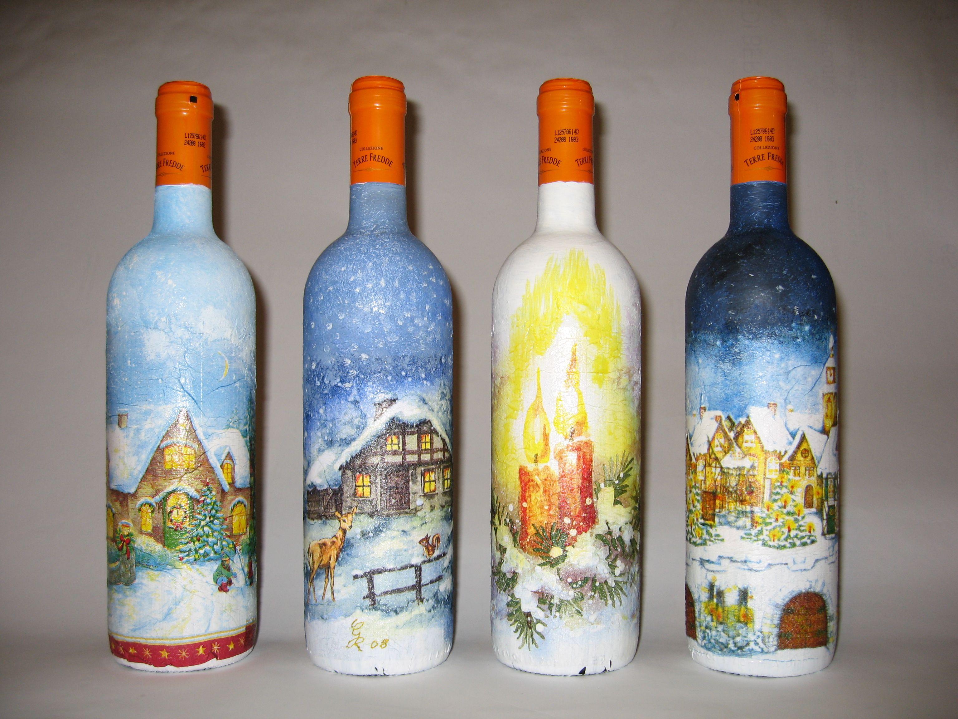 decoupage su bottiglie
