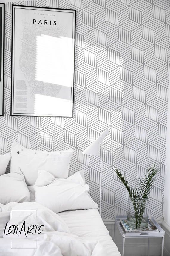 Gray Cubes Wallpaper Geometric Op Art Wallpaper Easy Stick Grey Wallpaper Accent Wallpaper Condo Decorating