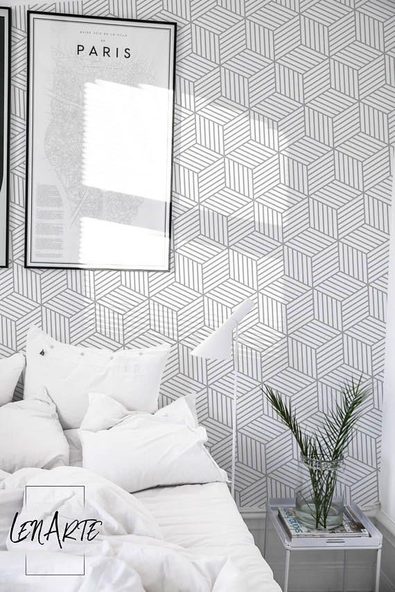 Gray Cubes Wallpaper Geometric Op Art Wallpaper Easy Stick