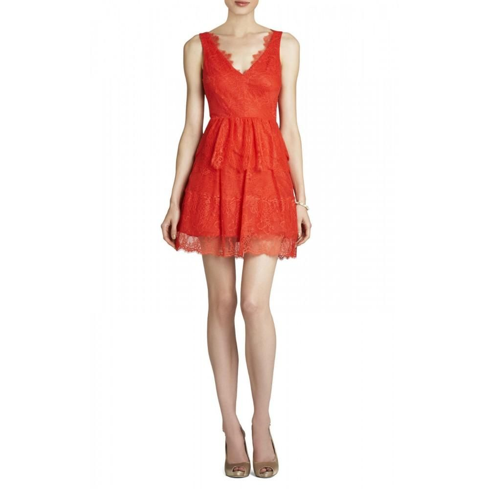 029c49d7ec2 BCBGMaxazria Willa Bright Poppy Lace Cocktail Dress