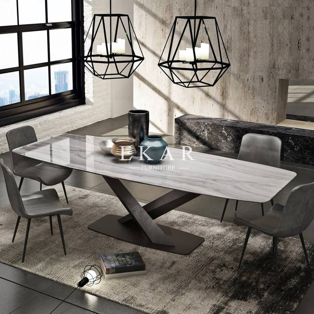 European Style Rectangle Marble Dining Table Ekar Furniture Dining Table Marble Marble Top Dining Table Marble Dining