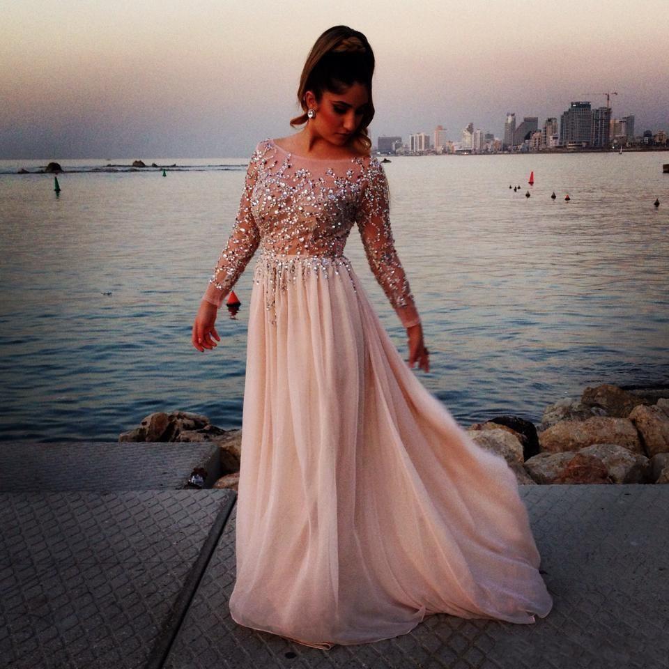 Long prom dresses elie saab sparking crystal beading sheer modest