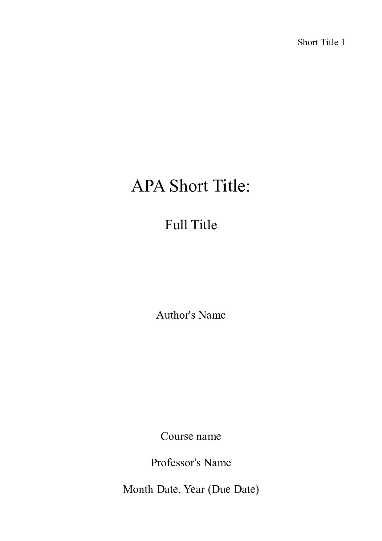 picture of of an apa title page APA Essay Help with Style and APA