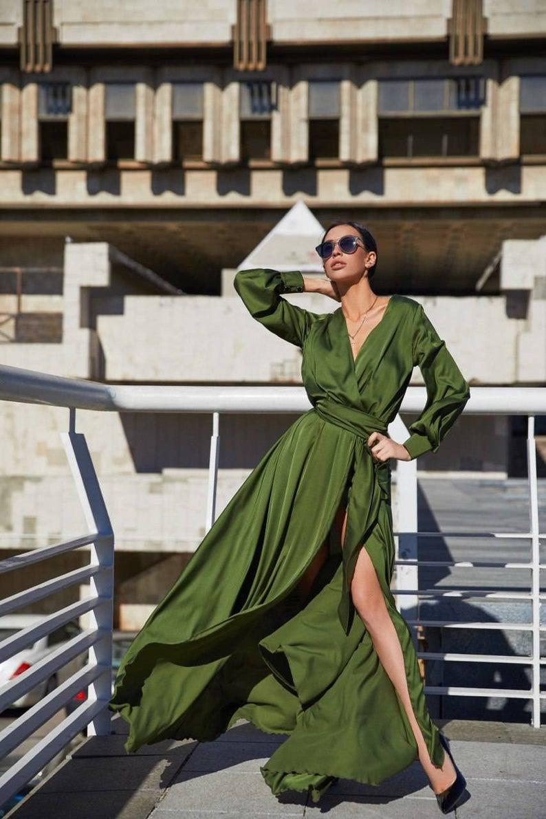 Olive Green Maxi Wrap Dress Long Sleeve Dress Long Bridesmaid Etsy Green Wedding Guest Dresses Silk Dress Long Wrap Dress Bridesmaid [ 1191 x 794 Pixel ]