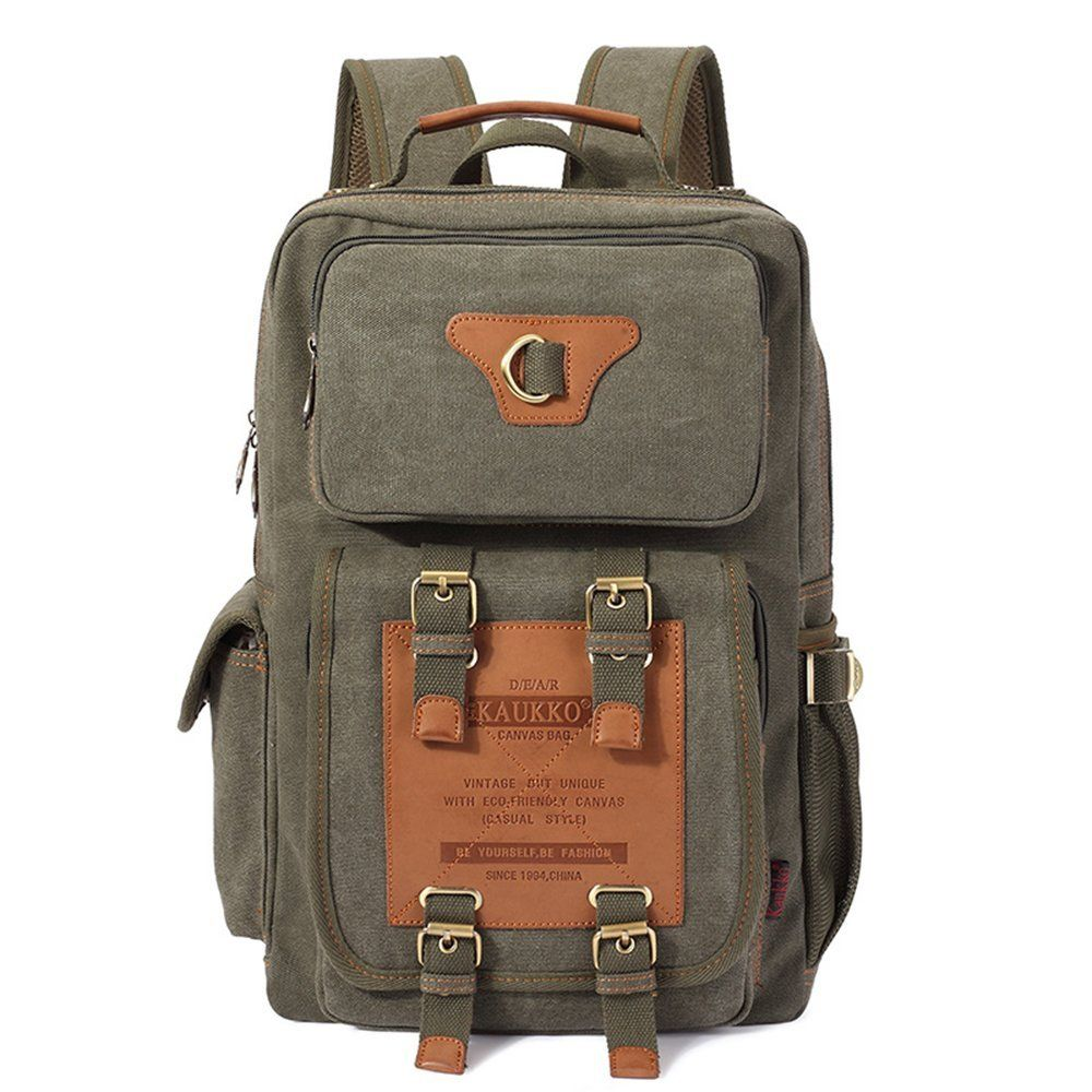 Kaukko Classic Canvas Backpack with 2 Side Pockets 46a3f9090cf3c