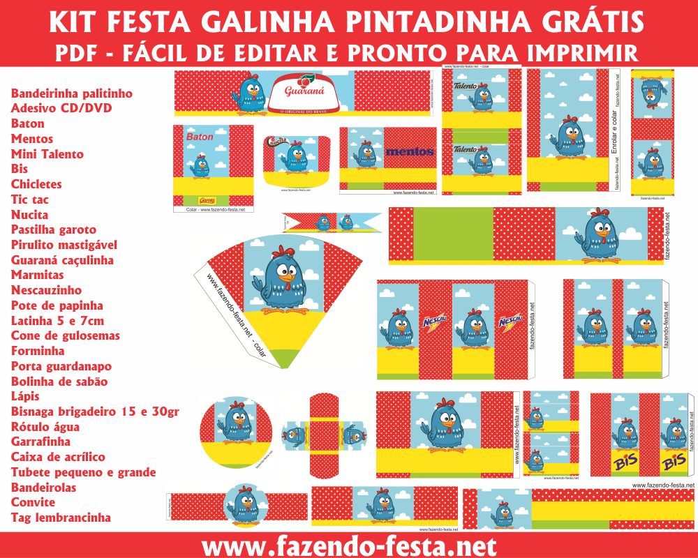 Kit Festa Galinha Pintadinha Completo Gratuito Facil De Editar E