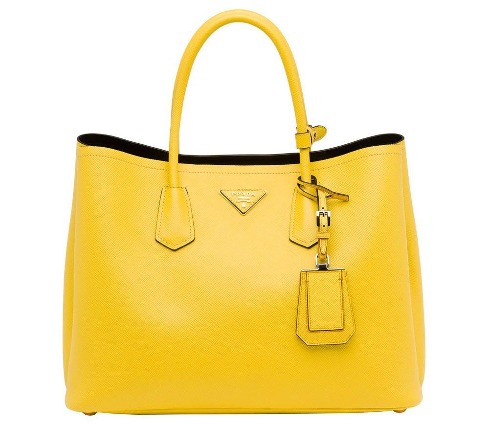 2bb38de95c ... get prada saffiano cuir double bag yellow e34aa 13d62
