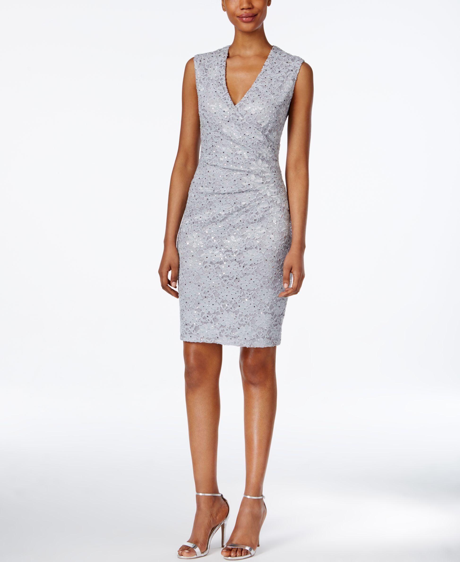 Connected Sequined Lace Sheath Dress Macys Com Macys Lace