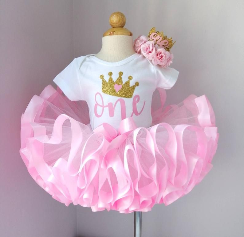 1st birthday princess outfit. Pink and Gold First Birthday outfit, Gold crown headband, Number One Bodysuit