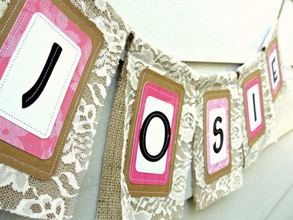 Custom NAME Banner Burlap and Lace Up to 5 by LazyCaterpillar, $30.00