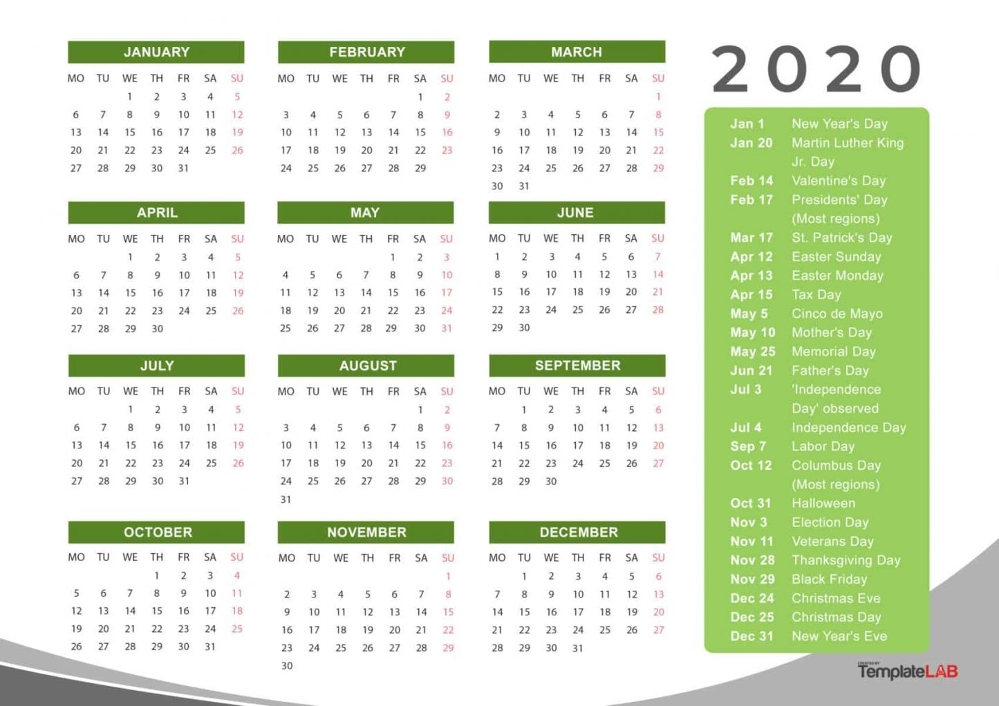 Free Printable 2020 Calendar With Holidays Di 2020