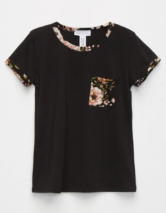 FULL TILT Floral Pocket Girls Ringer Tee