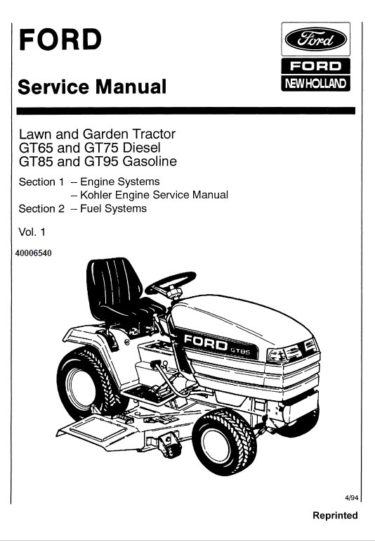 Ford Gt64 Gt75 Gt85 Gt95 Lawn Tractor Service Manual Tractors