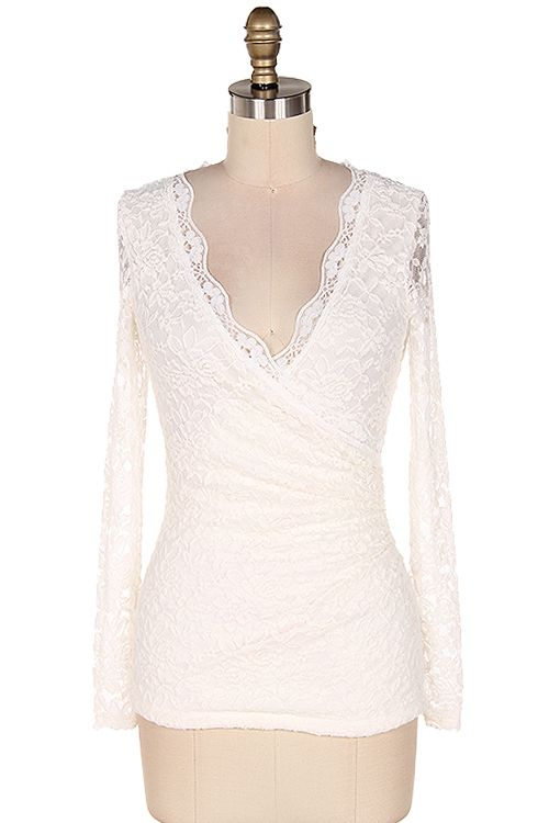 Anna Top in White Lace