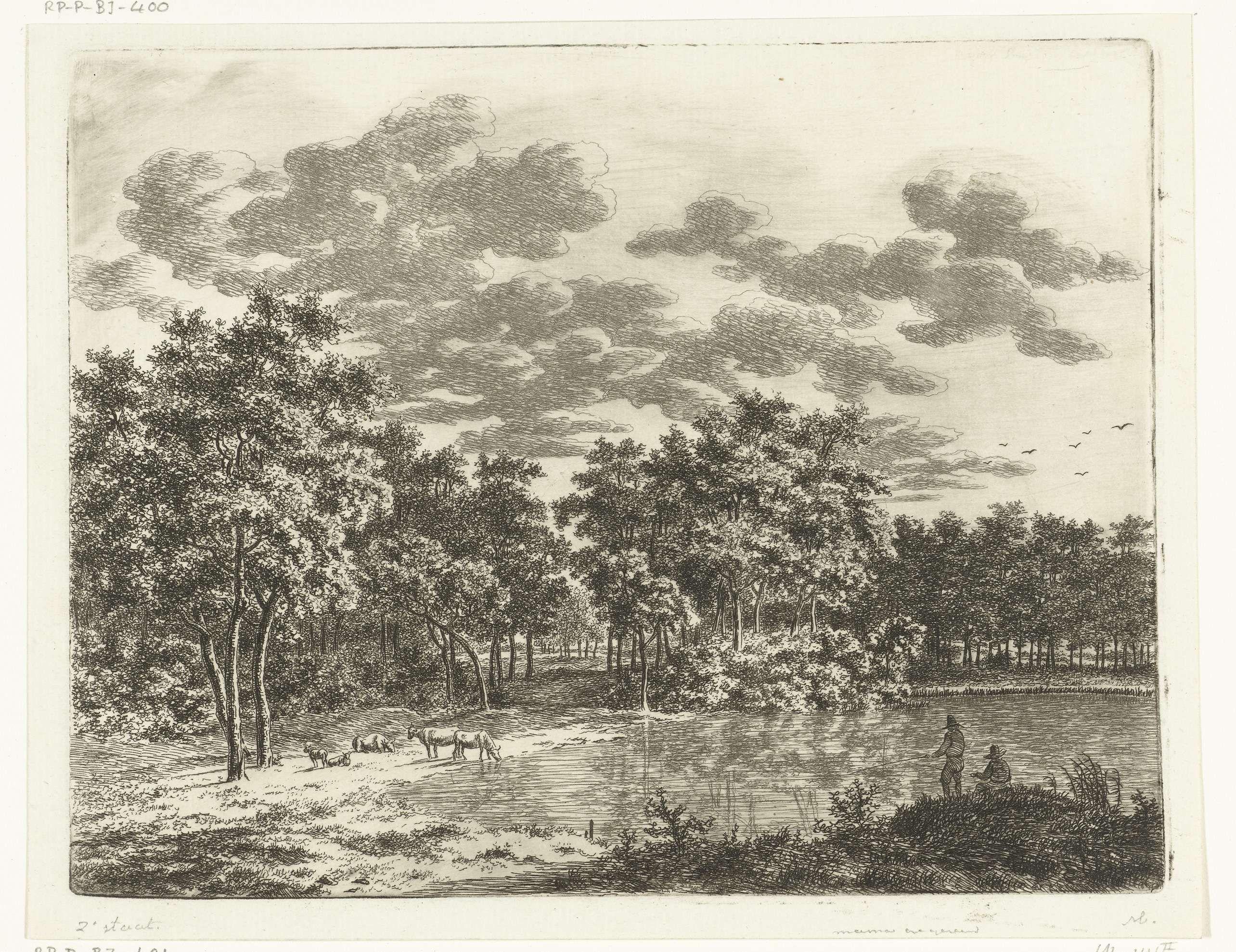 Ernst Willem Jan Bagelaar   Landschap met vijver en twee hengelende vissers, Ernst Willem Jan Bagelaar, 1798 - 1818  