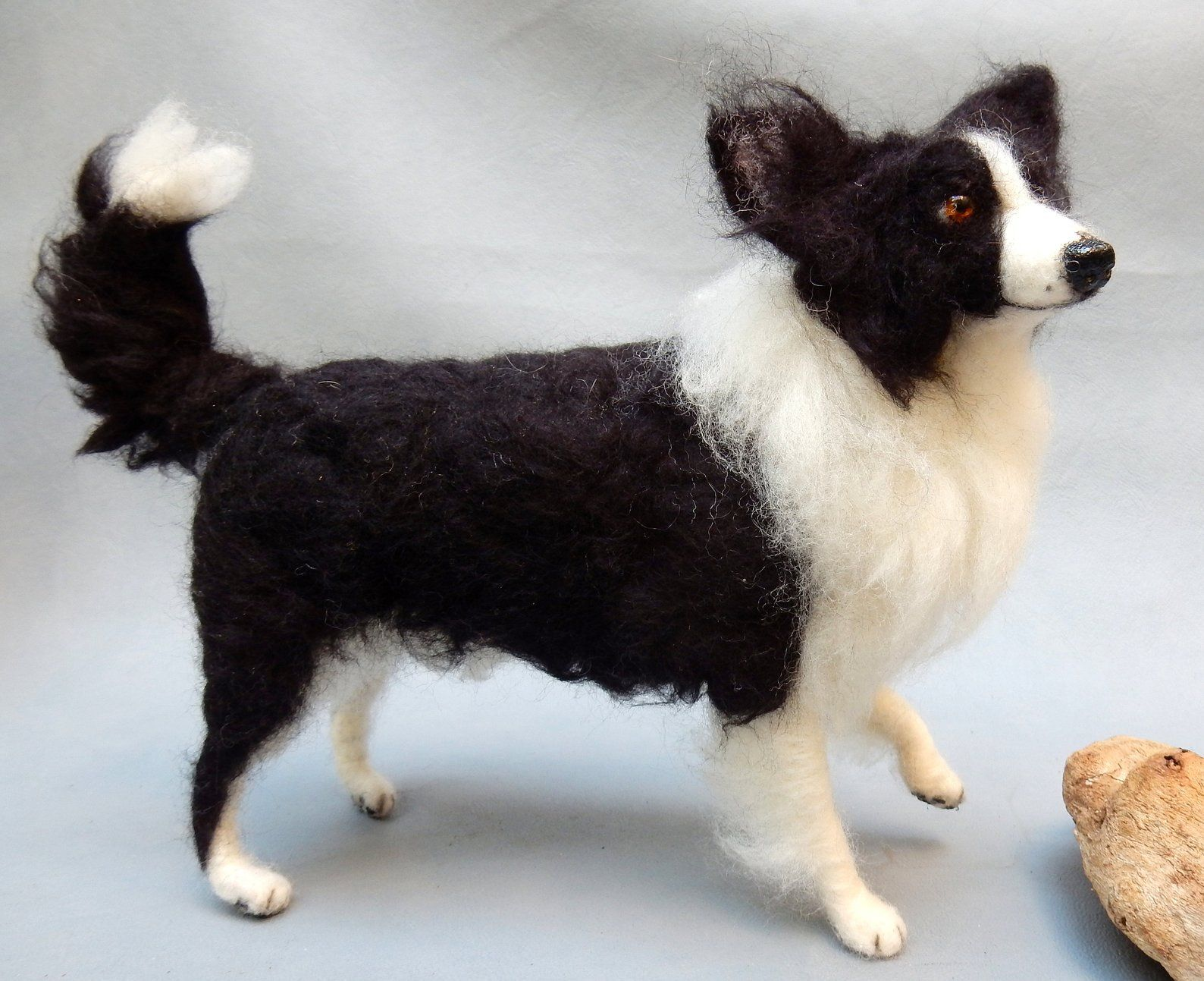 Border Collie Needle Felt Dog Miniature Custom Dog Replica From