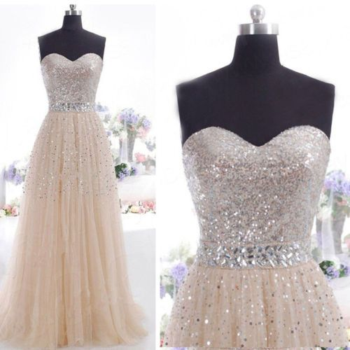 Sexy-Women-Sequins-Long-Formal-Gown-Prom-Cocktail-Evening-Bridesmaid-Full-Dress