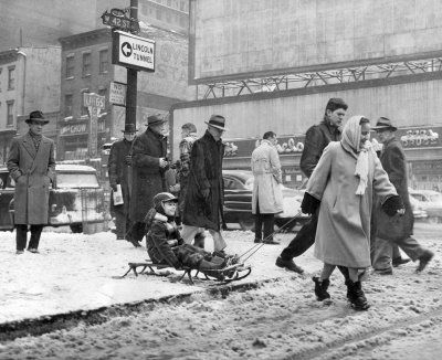 sledding through times square in new york city photo by arthur browerthe new york times photo archives - Vintage Christmas Photos
