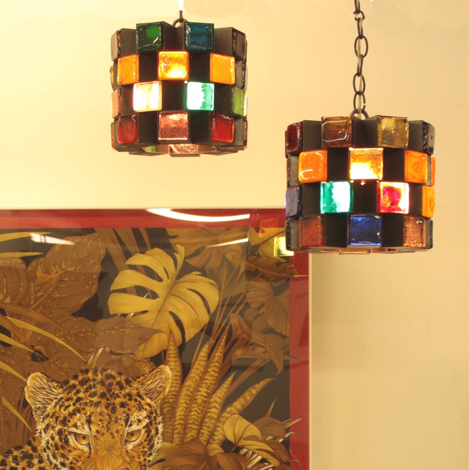Multi colored mcm pendant lights available at crowcreekvintage on mcm pendant light multi colored glass chandelier mid century modern 2 of 2 arubaitofo Gallery