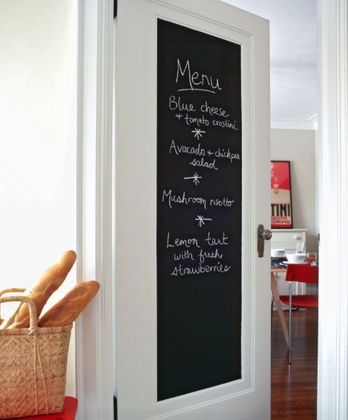 Kitchen Chalkboard Door - Out of wall space? Convert a door into a chalkboard