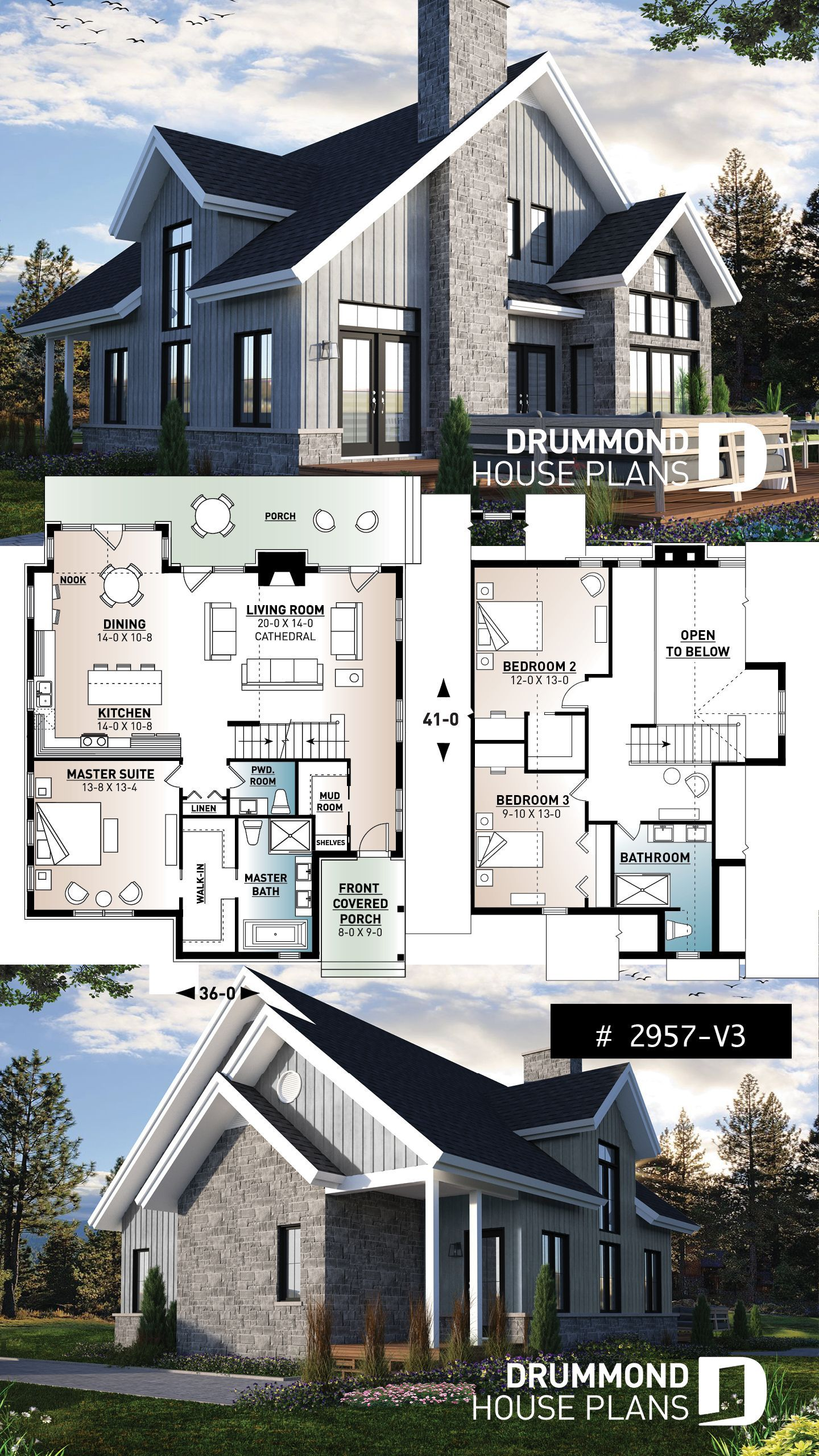 3 Bedroom Mountain Style House Plan With Panoramic View Cathedral Ceiling Master Suite And Modern Farmhouse Floorplan Sims House Plans Farmhouse Floor Plans