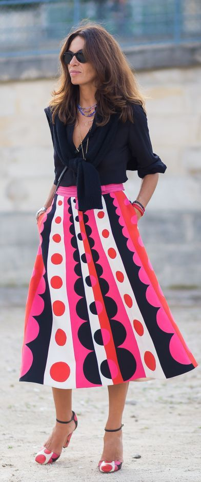 Printed Skirt Chic Streetstyle