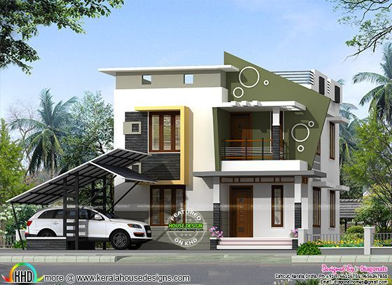 Small Double Storied Contemporary Home 1359 Sq Ft House Architecture Design Contemporary House Modern House Design