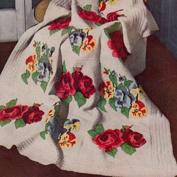 Vintage crochet afghan patterns victorian rose pansy afghan vintage crochet afghan patterns victorian rose pansy afghan crochet pattern is vintage 1950s dt1010fo