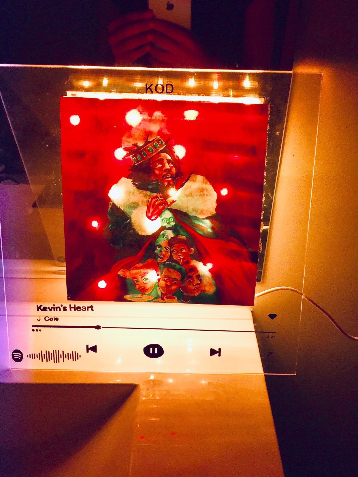 Custom song glass album cover album wall art WITH lights